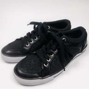 G By GUESS Canvas Faux Leather Sneakers Black 7 M